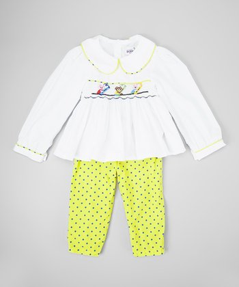 White & Gold Crayon Top & Leggings - Infant, Toddler & Girls