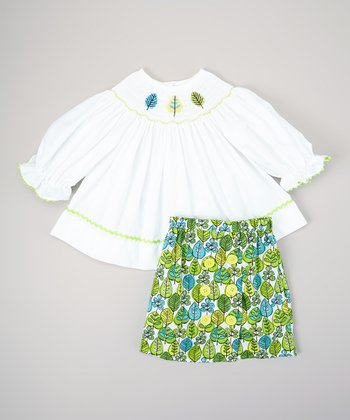 White & Green Leaf Bishop Top & Skirt - Infant, Toddler & Girls