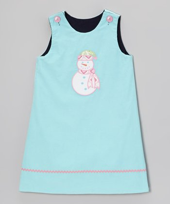 Aqua Snowman Reversible Jumper - Girls
