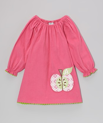 Hot Pink Apple Peasant Dress - Toddler & Girls