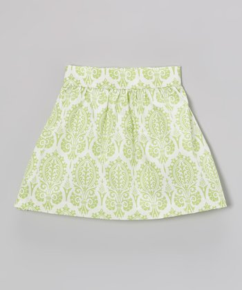 Green Damask Skirt - Toddler & Girls