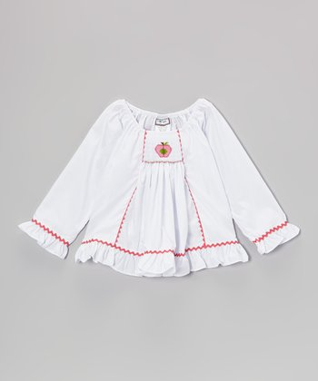 White Apple Smocked Top - Infant, Toddler & Girls