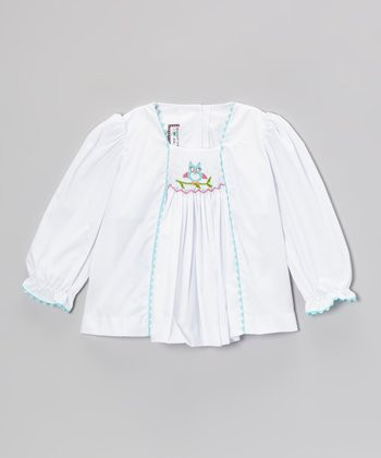 White Owl Smocked Top - Infant & Girls