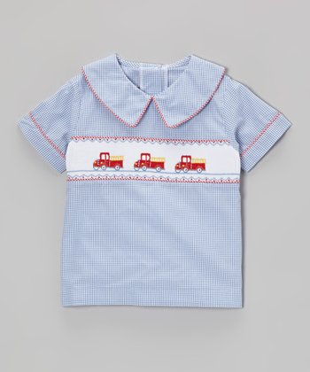 Blue Fire Truck Smocked Top - Toddler & Boys