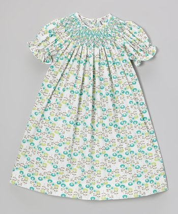 Aqua Tulips Bishop Dress - Toddler