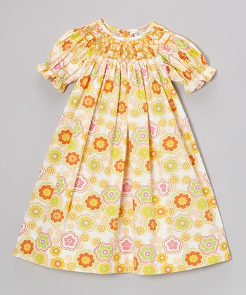 Orange Flower Bishop Dress - Toddler & Girls