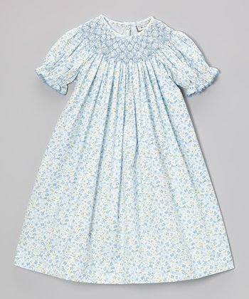 Blue Butterfly Bishop Dress - Infant, Toddler & Girls
