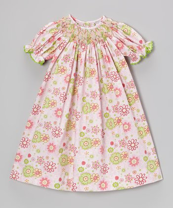 Pink & Green Flower Bishop Dress - Infant, Toddler & Girls