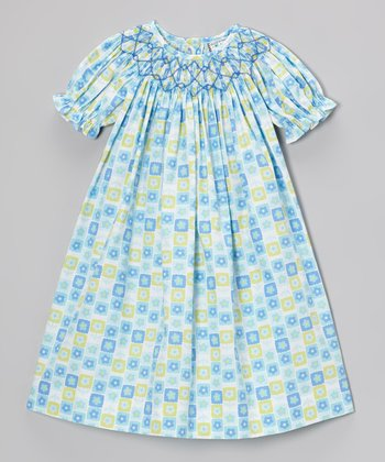 Aqua Flower Bishop Dress - Infant & Toddler