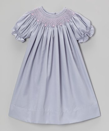 Gray & Pink Bishop Dress - Infant