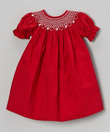 Red & White Bishop Dress - Infant & Toddler