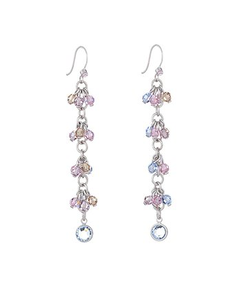 Silver & Light Pink Cluster Earrings Made With SWAROVSKI ELEMENTS