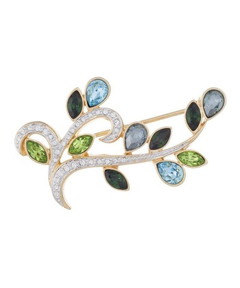 Gold & Aquamarine Leaf Brooch Made With SWAROVSKI ELEMENTS