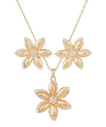 Gold Flower Necklace & Earrings Made With SWAROVSKI ELEMENTS
