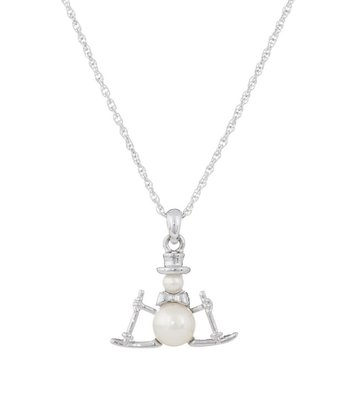 Silver & Pearl Winter Magic Snowman Pendant Necklace