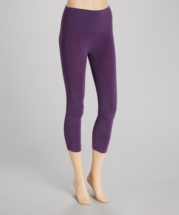Heather Purple Seamless Shaper High-Waist Capri Leggings