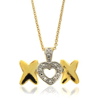 Diamond & Gold Heart XO Pendant Necklace