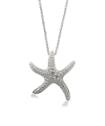 Diamond & Silver Starfish Pendant Necklace