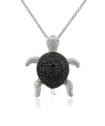 Black Diamond & Silver Turtle Pendant Necklace