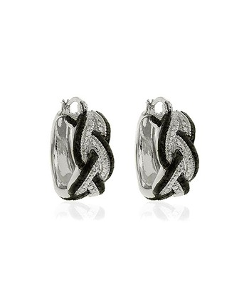 Black Diamond & Silver Braid Hoop Earrings