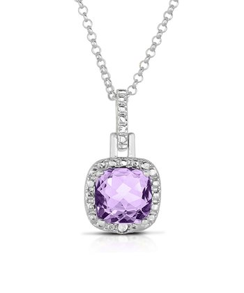 Amethyst & Silver Square Pendant Necklace