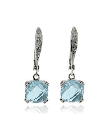 Blue Topaz & Silver Square Drop Earrings