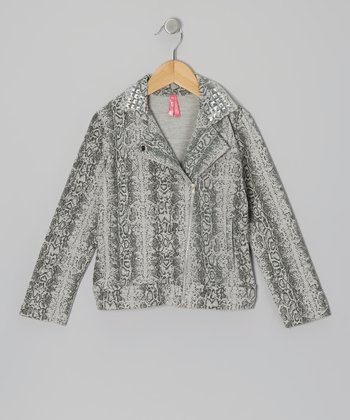 Gray Snake Zip-Up Jacket - Girls