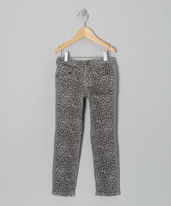 Gray Leopard Skinny Pants - Toddler