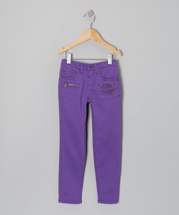 Purple Triple-Zipper Skinny Pants - Girls