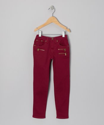 Maroon Triple-Zipper Skinny Pants - Girls