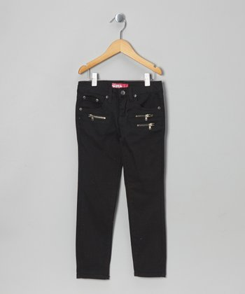 Black Triple-Zipper Skinny Pants - Girls