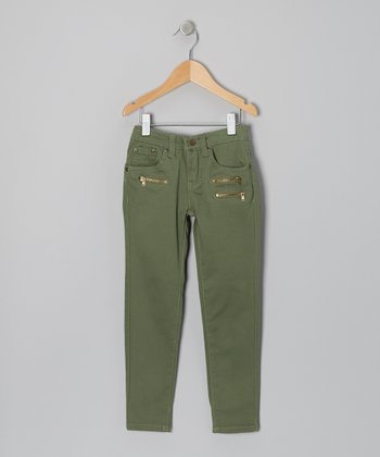 Green Triple-Zipper Skinny Pants - Girls