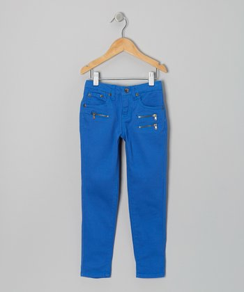 Blue Triple-Zipper Skinny Pants - Girls
