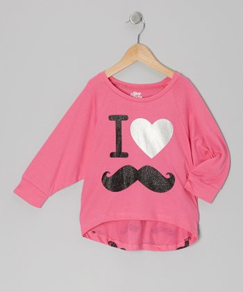 Pink Mustache Dolman Top - Girls