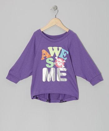 Purple 'Awesome' Dolman Top - Girls