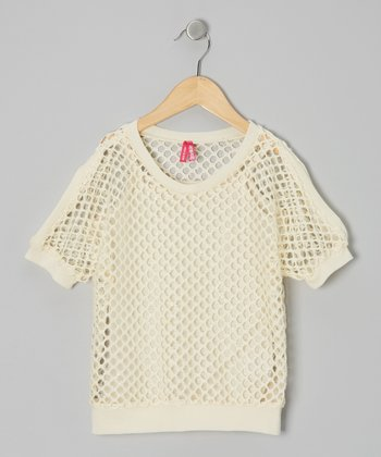 Cream Mesh Layered Top - Girls