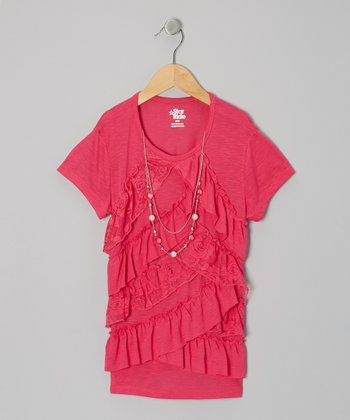 Pink Ruffle-Tier Necklace Top - Girls