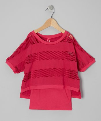 Pink Stripe Mesh Layered Top - Girls