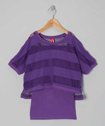 Purple Stripe Mesh Layered Top - Girls