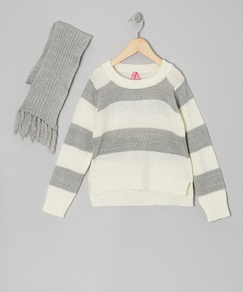 Gray Stripe Sweater & Scarf - Girls