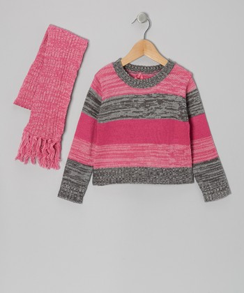 Pink & Gray Stripe Sweater & Scarf - Toddler