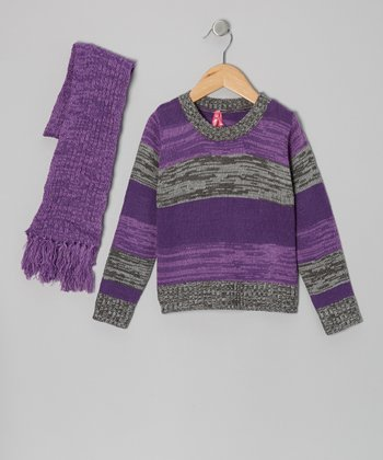 Purple & Gray Stripe Sweater & Scarf - Toddler & Girls