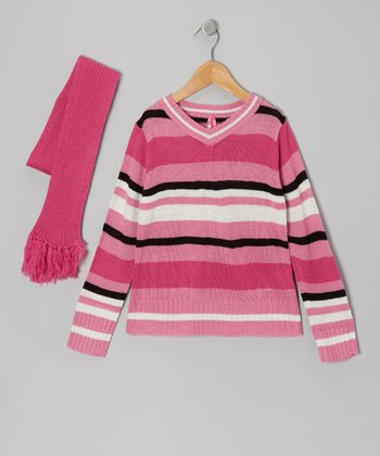 Pink Stripe V-Neck Sweater & Scarf - Girls