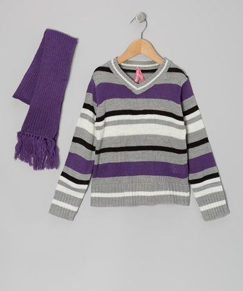 Purple Stripe V-Neck Sweater & Scarf - Girls