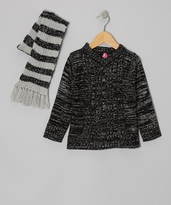 Black V-Neck Sweater & Stripe Scarf - Toddler & Girls