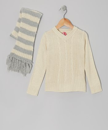 Cream V-Neck Sweater & Stripe Scarf - Toddler & Girls
