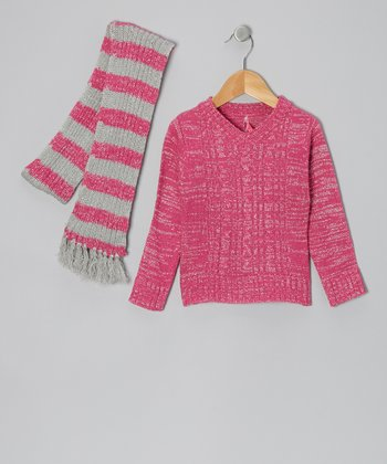 Pink V-Neck Sweater & Stripe Scarf - Toddler & Girls