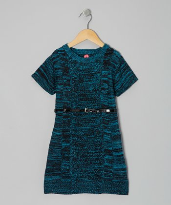 Blue Belted Sweater Dress - Toddler & Girls