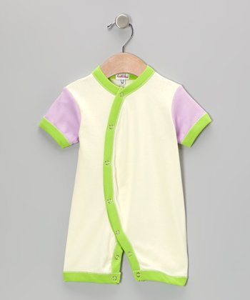 Cream & Lavender Short-Sleeve Romper - Infant