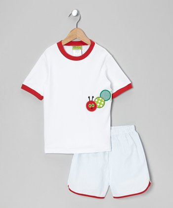 White Caterpillar Tee & Blue Shorts - Infant, Toddler & Boys